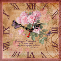 "Часы квадратные ""Утешайся Господом..."" /розы/"