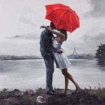 "КАРТИНА ПО НОМЕРАМ PAINTBOY ""Поцелуй под зонтом"" /40х50/"