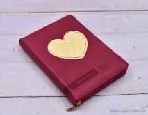 БИБЛИЯ 045 ZTI Малина, сердце с голубем, парал. места, с индексами, на молнии /130x185/
