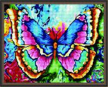 АЛМАЗНАЯ ВЫШИВКА. Радужная бабочка. Подрамник, круглые стразы /40х50/