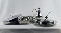 ПОЛНЫЙ НАБОР ДЛЯ ПРИЧАСТИЯ: Поднос, крышка с крестом, чаша для хлеба, кувшин, 40 стаканчиков