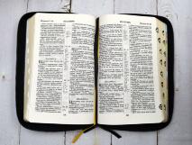 БИБЛИЯ 057 ZTI (B10) Белый, солнце, кожа, молния, индексы, золотистый обрез, две закладки /120х190/