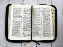 БИБЛИЯ 057 ZTI (B14) Фиолетовый, сердце, кожа, молния, индексы, золотистый обрез, две закладки /120х190/