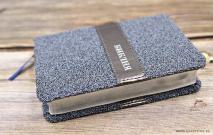 БИБЛИЯ 045 TW Серый бисер, вставка, серебрянный срез, закладка /120х165/