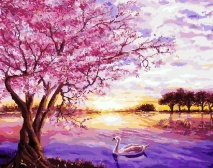 "КАРТИНА ПО НОМЕРАМ. ""Лебеди и розовое дерево"" /40х50/"