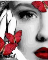 """КАРТИНА ПО НОМЕРАМ. """"Девушка и красные бабочки"""" /40х50/"""