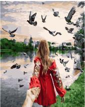 """КАРТИНА ПО НОМЕРАМ. """"Следуй за мной. Новодевичий монастырский парк"""" /40х50/"""
